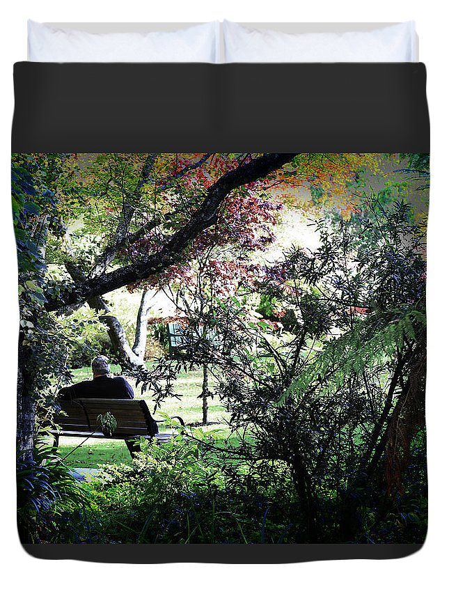 Man Duvet Cover featuring the photograph Man In The Park by Nareeta Martin