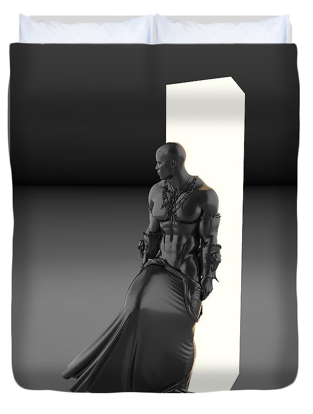 Sculpture Duvet Cover featuring the digital art Man Lamp Number Eleven by Joaquin Abella