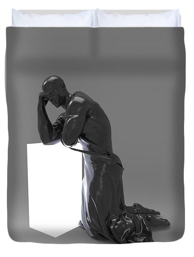 Sculpture Duvet Cover featuring the digital art Man Lamp Number Thirteen by Joaquin Abella