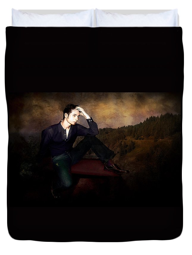 Men Duvet Cover featuring the photograph Man On A Bench by Jeff Burgess