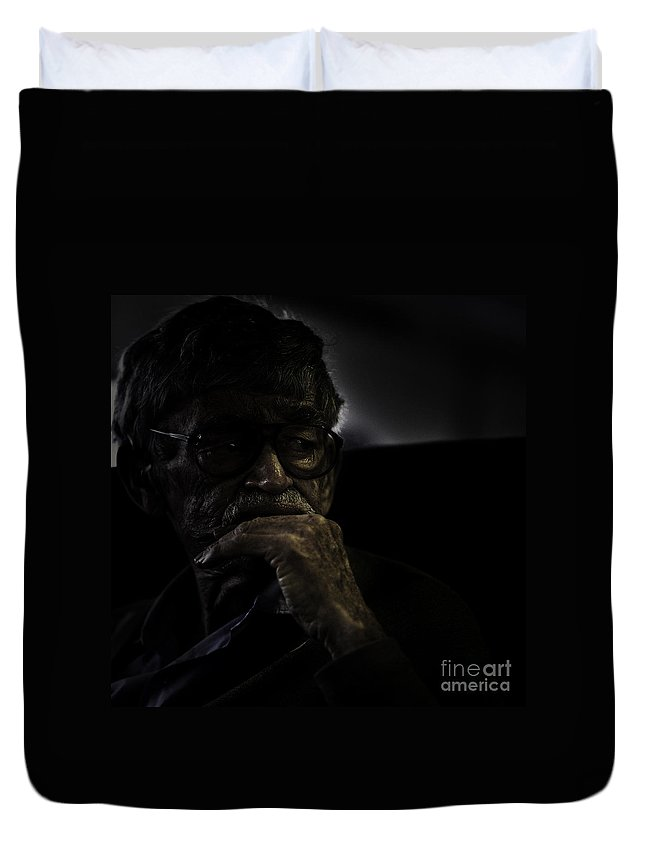 Portrait Duvet Cover featuring the photograph Man On Ferry by Avalon Fine Art Photography