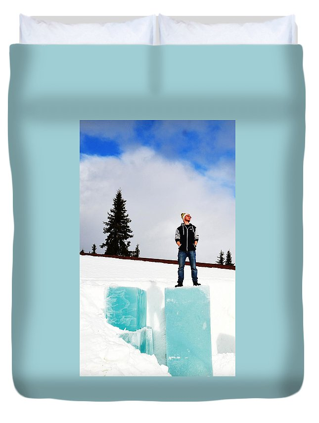 Ice Duvet Cover featuring the photograph Man On Ice by Harry Coburn
