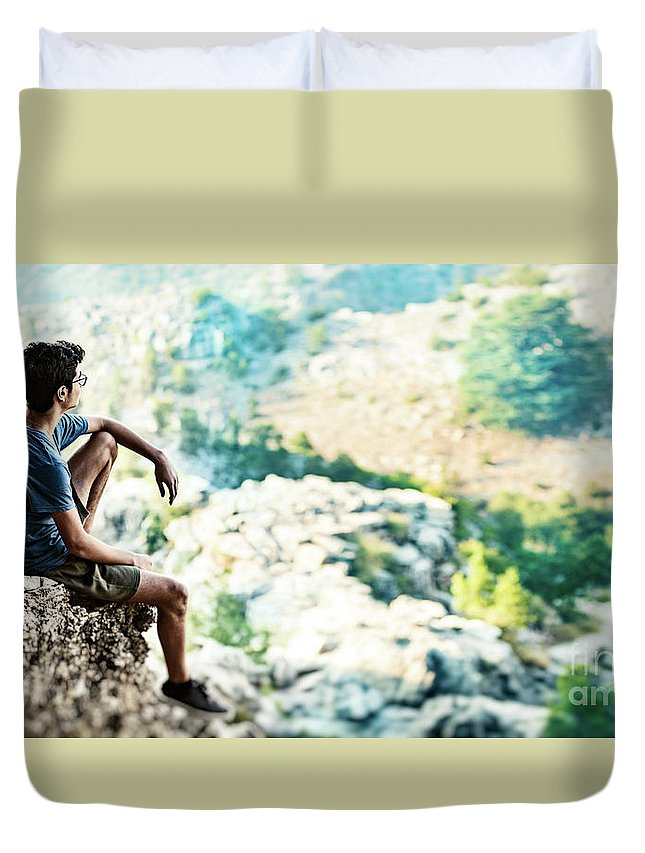 Active Duvet Cover featuring the photograph Man On Top Of The World by Anna Om