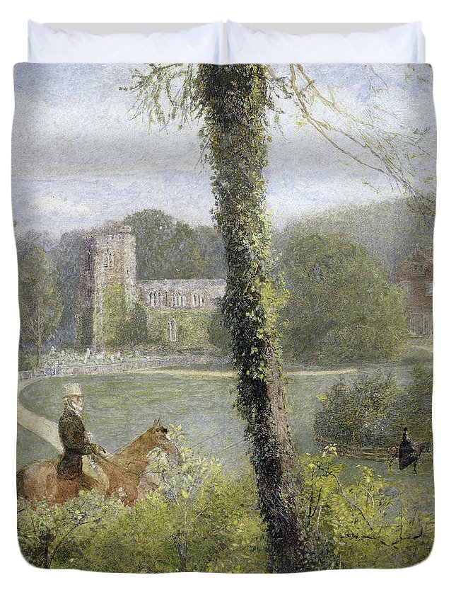 Somerset: Man Riding To His Lady Duvet Cover featuring the painting Man Riding To His Lady by John William North