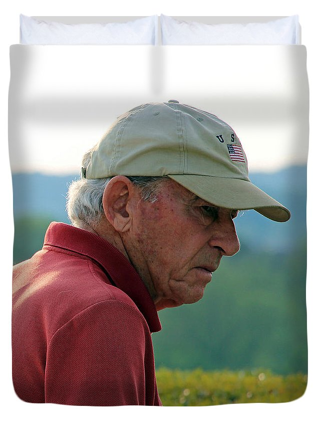 Man Duvet Cover featuring the photograph Man With American Flag On Cap by Cora Wandel