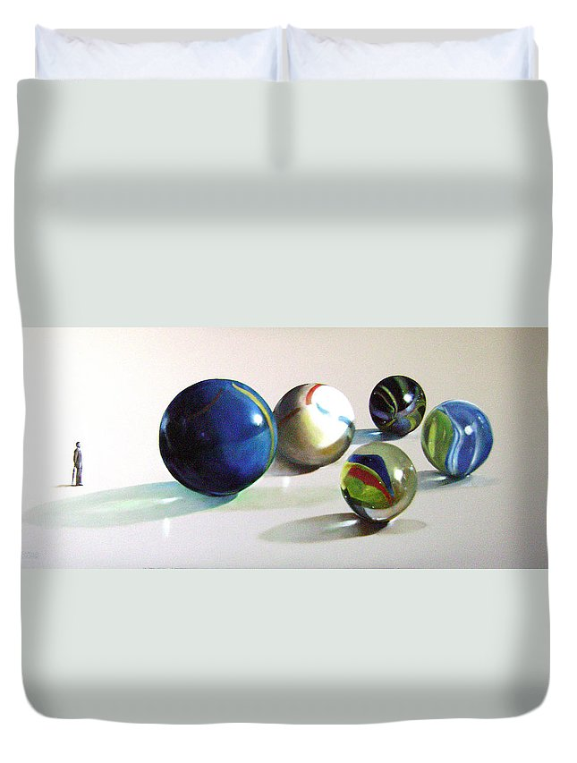 Fine Art Duvet Cover featuring the painting Man With Glass Balls by Camilo Lucarini