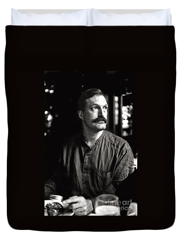 Man Duvet Cover featuring the photograph Man With Mustache by Madeline Ellis