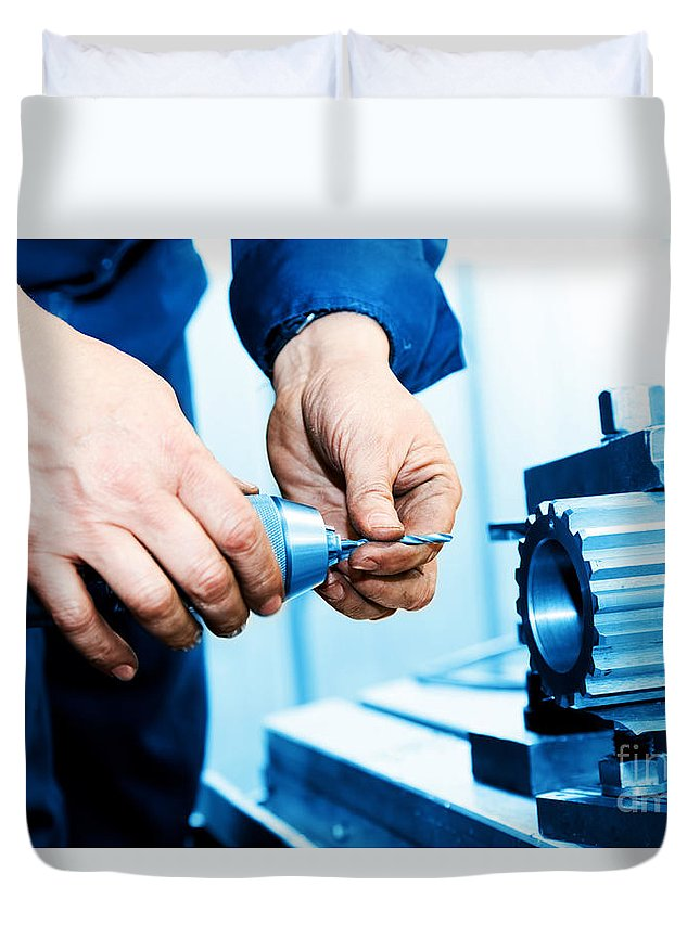 Industry Duvet Cover featuring the photograph Man Working On Drilling And Boring Machine by Michal Bednarek
