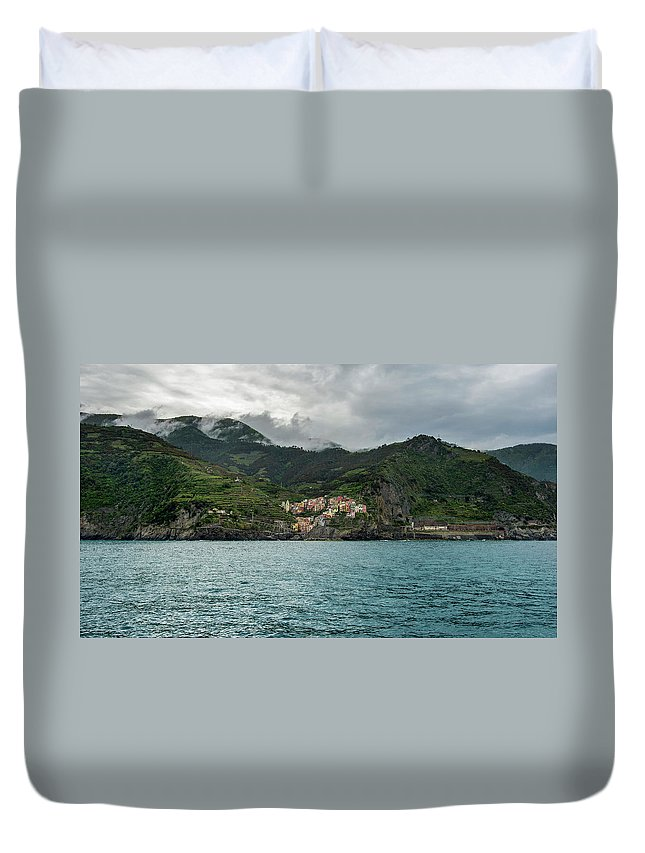 Cinque Terre Duvet Cover featuring the photograph Manarola, Cinque Terre by Alida Thorpe