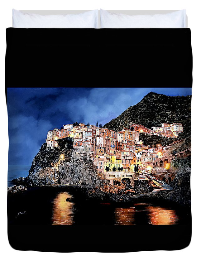 Seascape Duvet Cover featuring the painting Manarola Di Notte by Guido Borelli