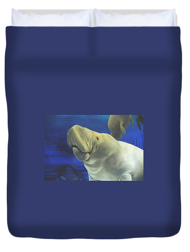Manatee Duvet Cover featuring the painting Manatee by Cindy D Chinn