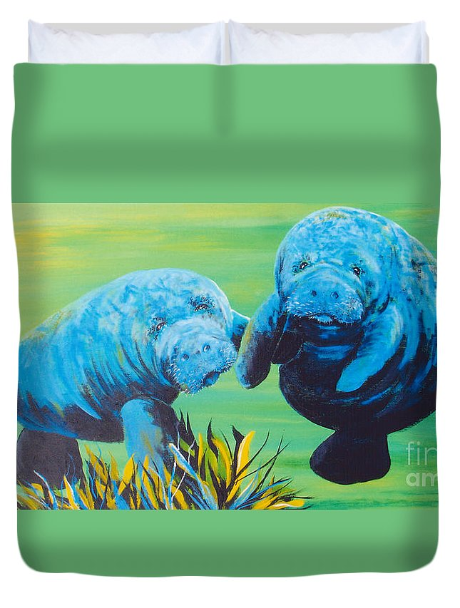 Manatee Duvet Cover featuring the painting Manatee Love by Susan Kubes