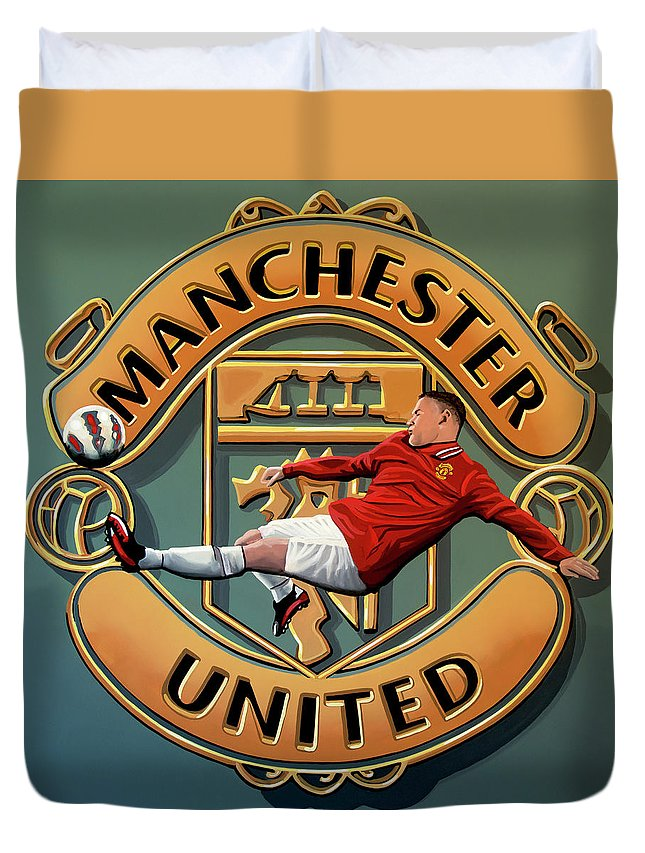 Wayne Rooney Duvet Cover featuring the painting Manchester United Painting by Paul Meijering