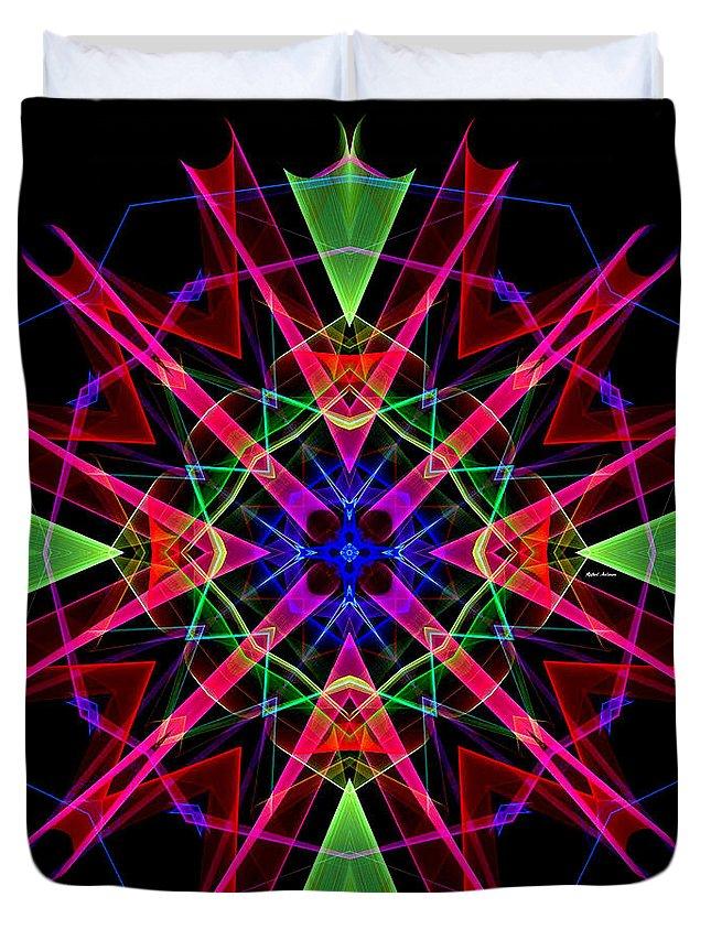 Rafael Salazar Duvet Cover featuring the digital art Mandala 3351 by Rafael Salazar
