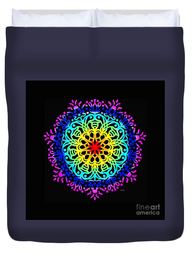Colorful Duvet Cover featuring the digital art Mandala 7 by Galina Lavrova