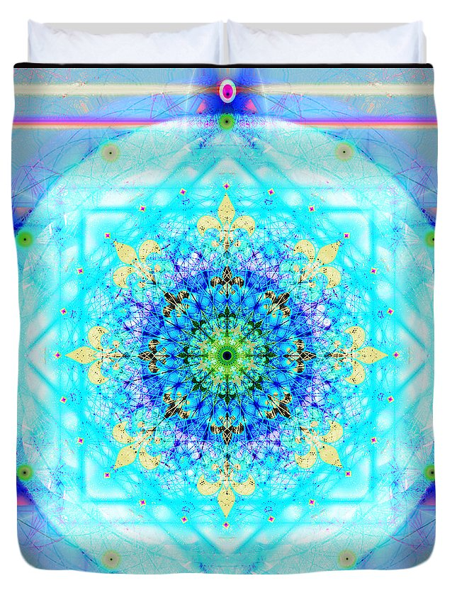Mandala Duvet Cover featuring the digital art Mandala Of Womans Spiritual Genesis by Stephen Lucas