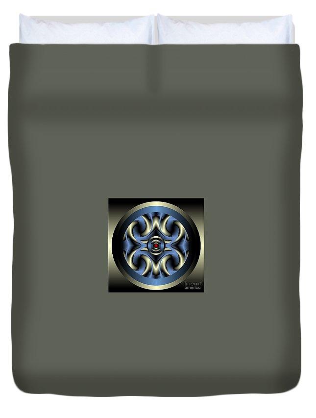 Mandala Framed Prints Duvet Cover featuring the digital art Mandallion No.5 by Ron Nilson