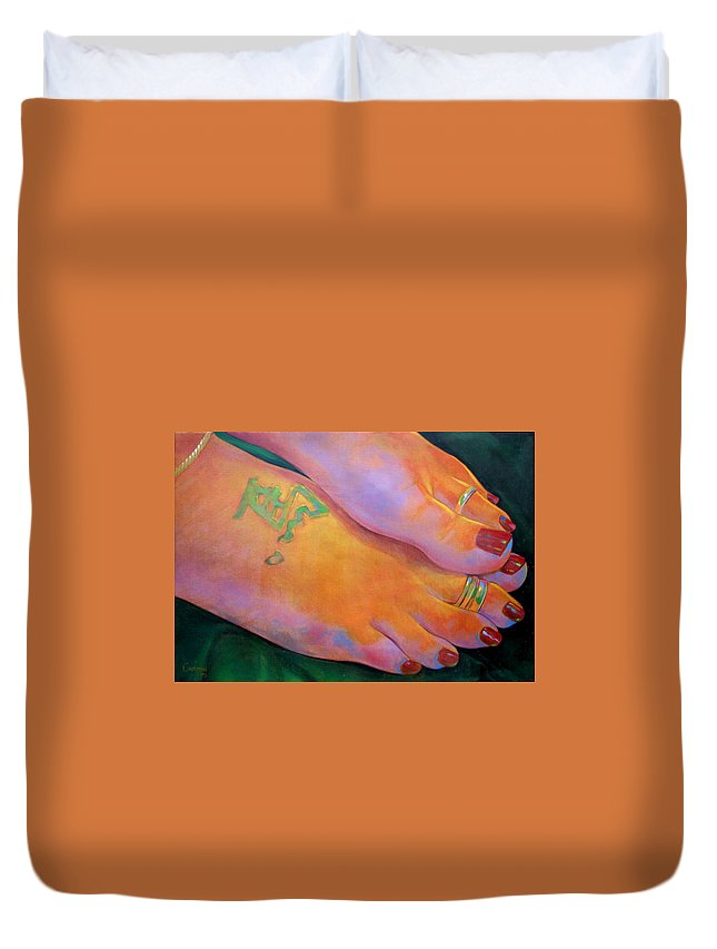 Toes Duvet Cover featuring the painting Mandy Toes Orange by Jerrold Carton