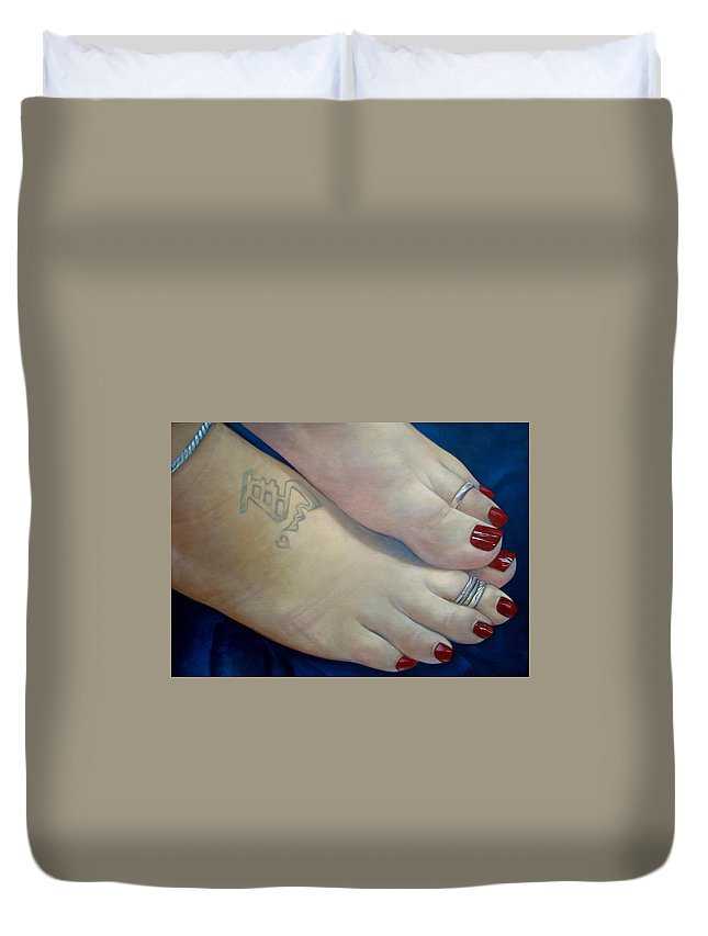 Toes Duvet Cover featuring the painting Mandys Toes by Jerrold Carton