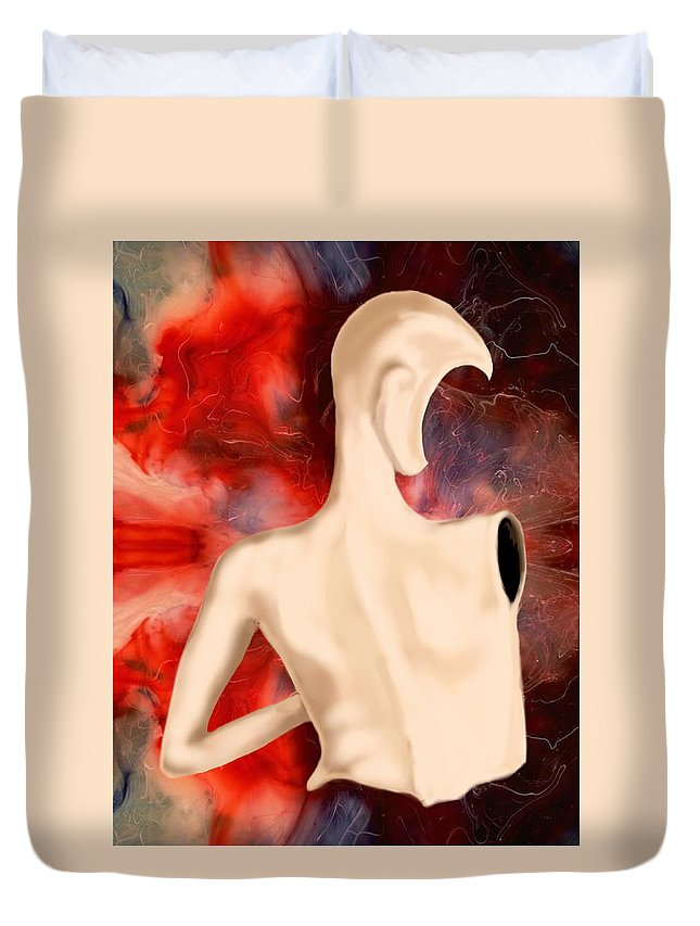 Woman Fashion Naked Surreal Abstract Duvet Cover featuring the digital art Manequin by Veronica Jackson