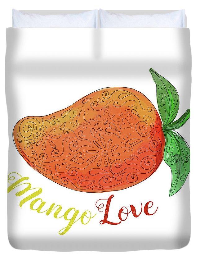 Mandala Duvet Cover featuring the digital art Mango Love Fruit Watercolor Mandala by Aloysius Patrimonio