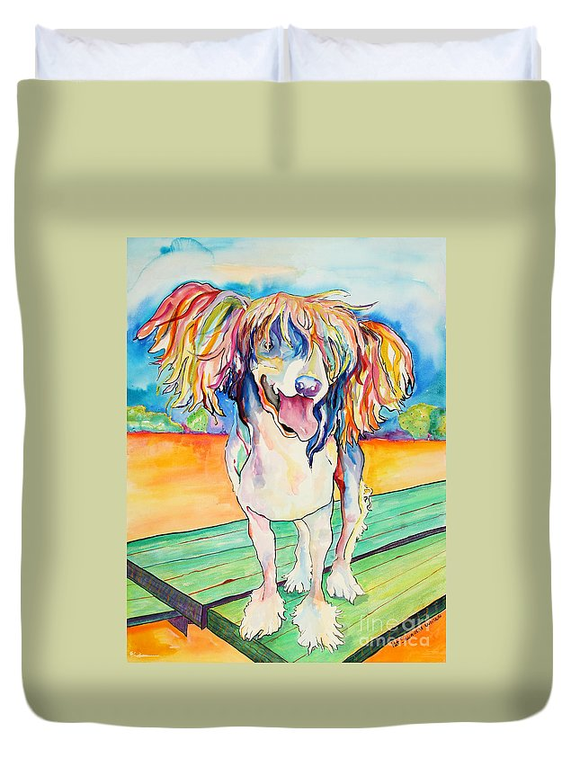Chinese Crested Duvet Cover featuring the painting Mango Salsa by Pat Saunders-White