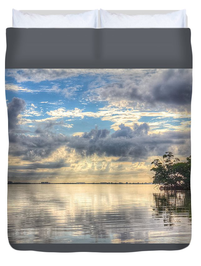 Sunset Duvet Cover featuring the photograph Mangrove Mirrored Dreams by Ronald Kotinsky