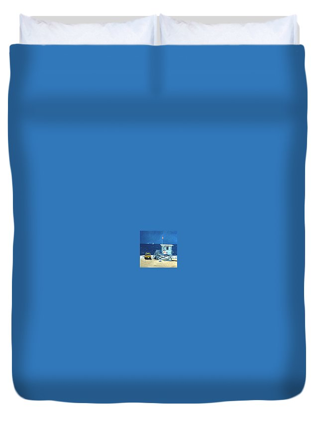 Modern Duvet Cover featuring the painting Manhattan Beach Lifeguard Station by Lance Headlee