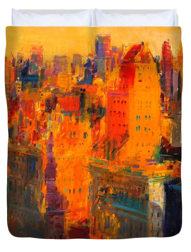 Manhattan Duvet Cover featuring the painting Manhattan by Peter Graham
