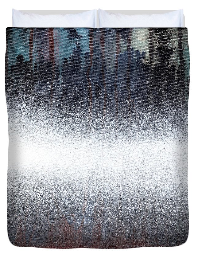 Beach Duvet Cover featuring the painting Manhattan by Sean Parnell