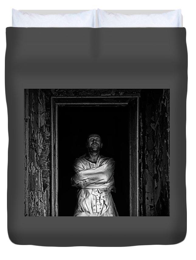 Duvet Cover featuring the digital art Maniac by Clinton Lofthouse