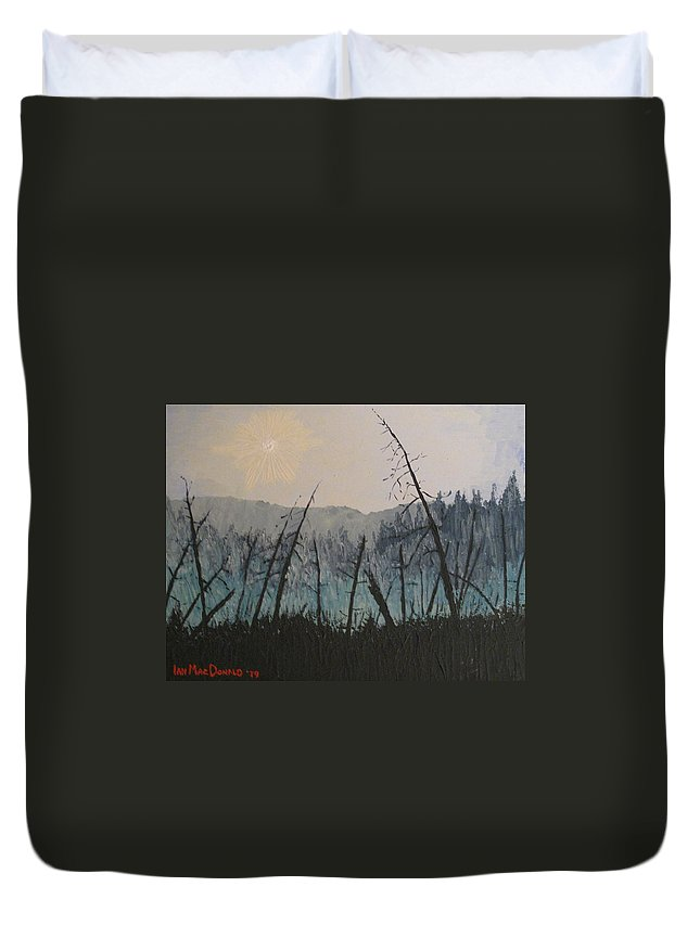 Northern Ontario Duvet Cover featuring the painting Manitoulin Beaver Meadow by Ian MacDonald