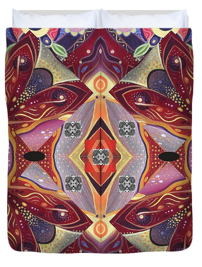Enchanted Duvet Cover featuring the digital art Many Centers - Tjod Xii Arrangement Experiment by Helena Tiainen