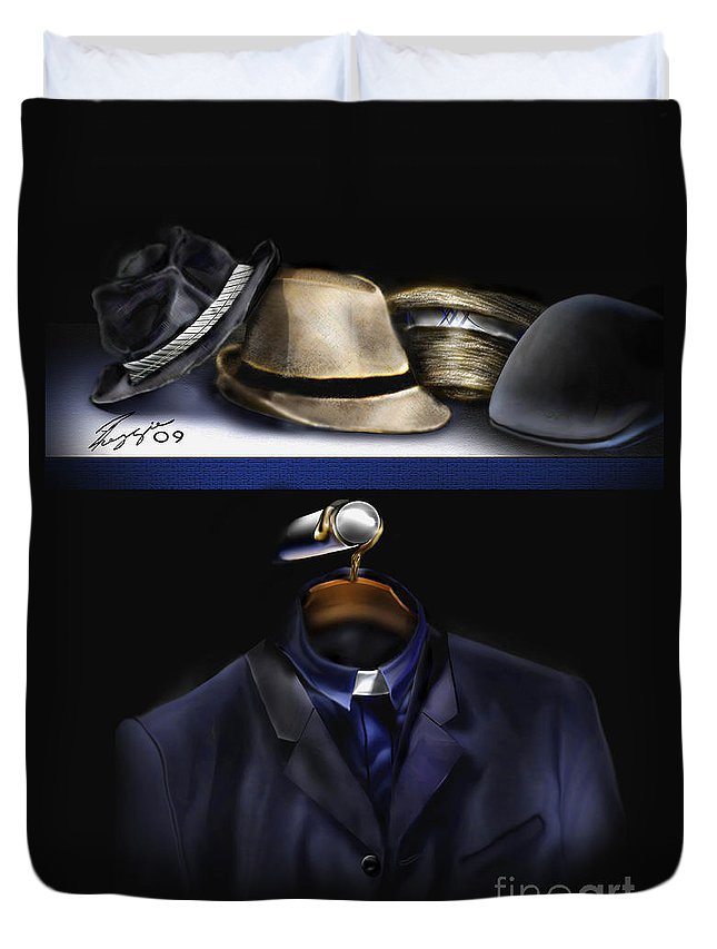 Still Life Painting Duvet Cover featuring the painting Many Hats One Collar by Reggie Duffie