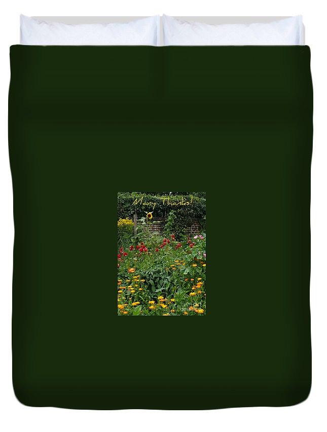 Thank You Card Duvet Cover featuring the greeting card Many Thanks Card by Carol Groenen