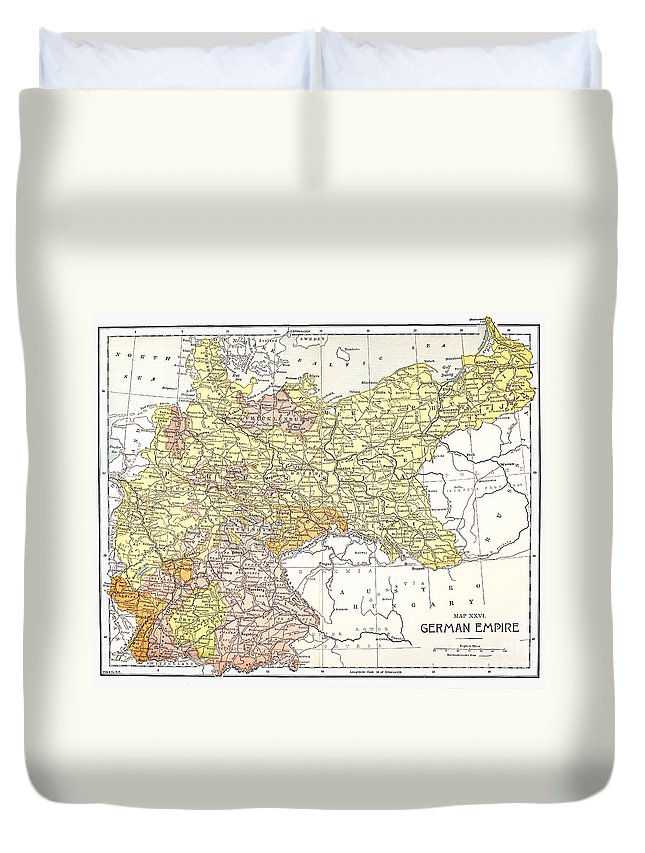 19th Century Duvet Cover featuring the photograph Map: German Empire by Granger