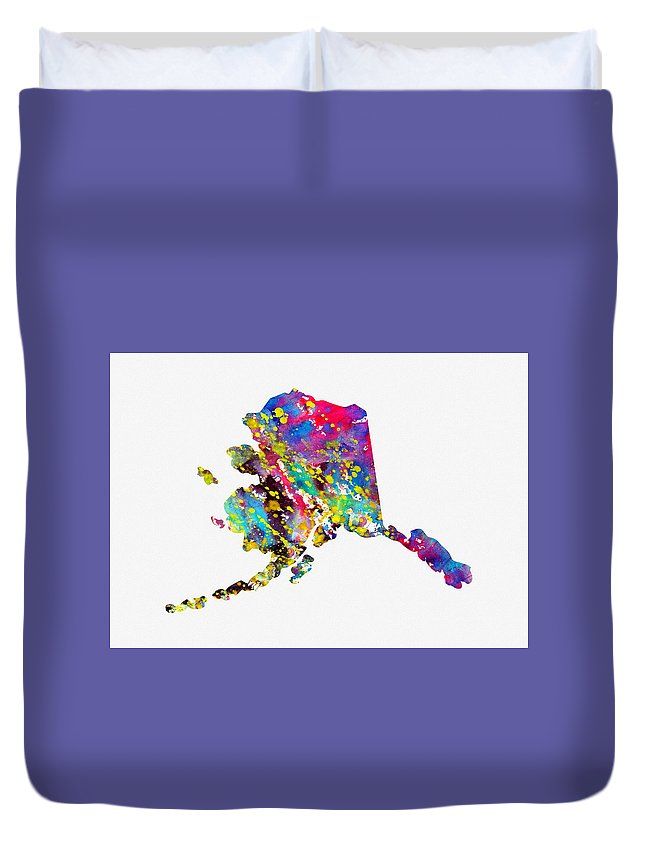 Map Of Alaska Duvet Cover featuring the digital art Map Of Alaska-colorful by Erzebet S
