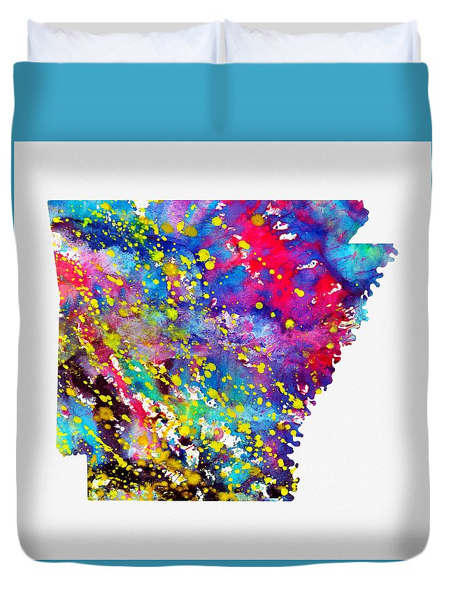 Map Of Arkansas Duvet Cover featuring the digital art Map Of Arkansas-colorful by Erzebet S