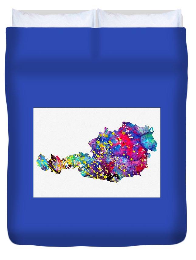 Austria Duvet Cover featuring the digital art Map Of Austria-colorful by Erzebet S