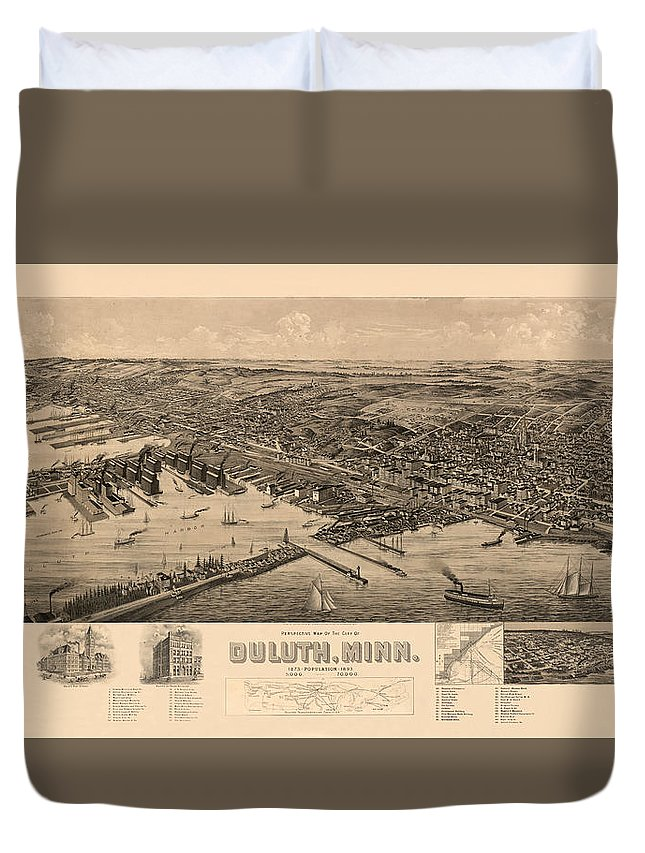Map Of Duluth Duvet Cover featuring the photograph Map Of Duluth 1893 by Andrew Fare