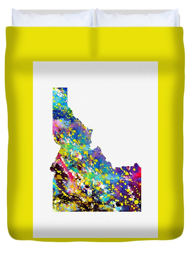 Idaho Duvet Cover featuring the digital art Map Of Idaho-colorful by Erzebet S