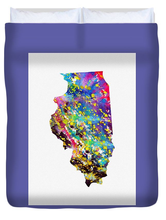 Illinois Duvet Cover featuring the digital art Map Of Illinois-colorful by Erzebet S