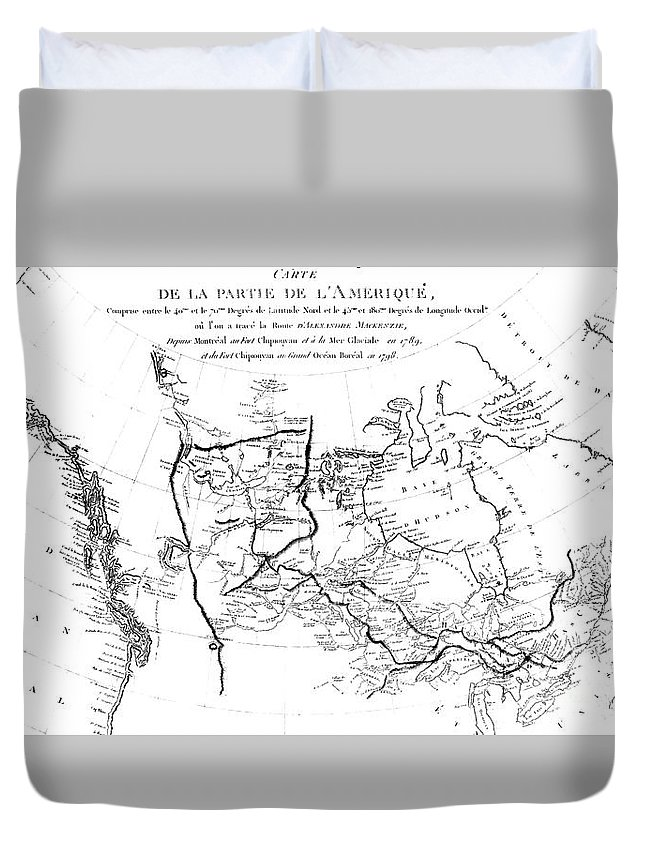 Map Duvet Cover featuring the drawing Map Of North America, Plotting The Expeditions Of Sir Alexander Mackenzie In 1789 And 1798 To The Ar by French School