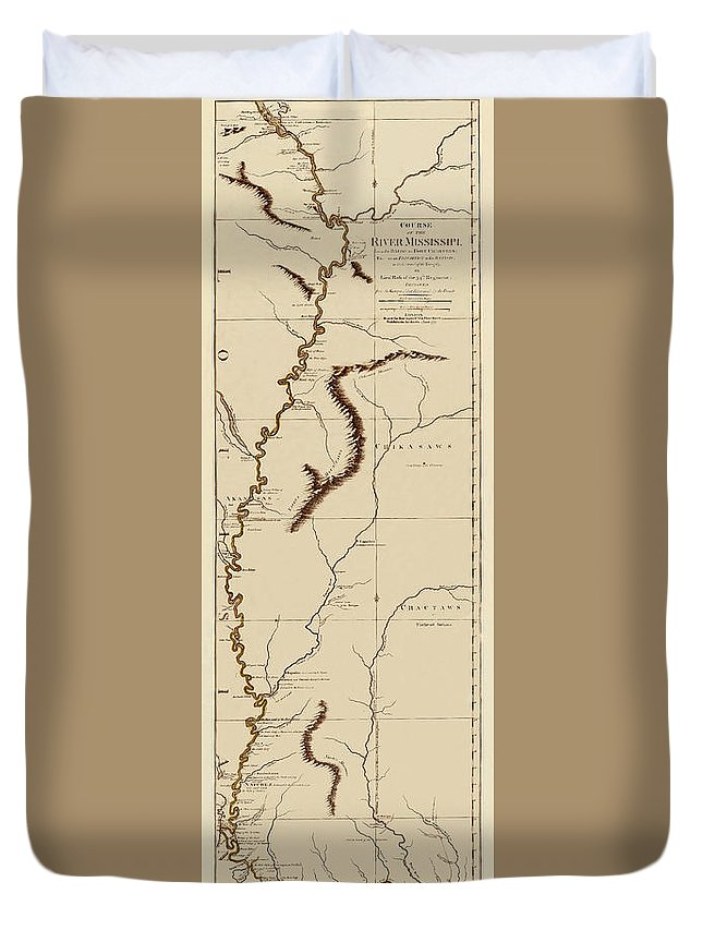 Map Of The Mississippi River Duvet Cover featuring the photograph Map Of The Mississippi Riverr 1775 by Andrew Fare