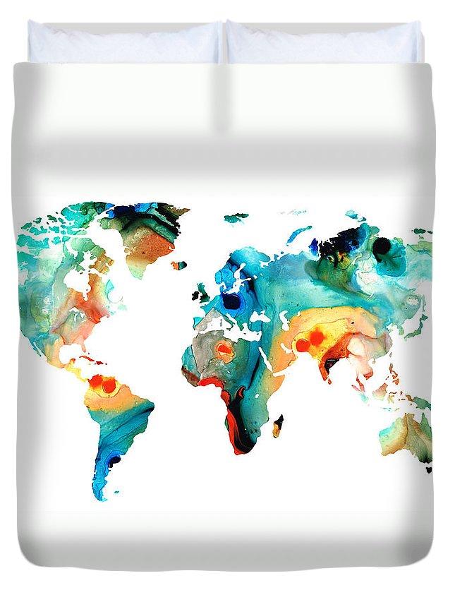 world map duvet covers