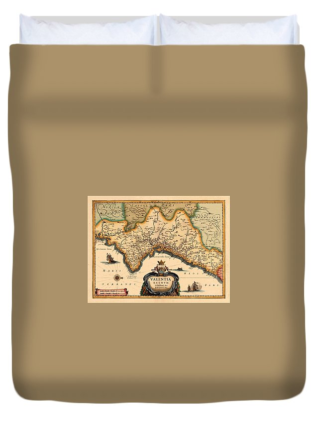 Map Of Valencia Duvet Cover featuring the photograph Map Of Valencia 1634 by Andrew Fare