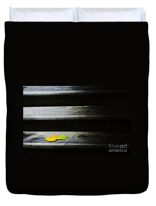 Maple Leaf Duvet Cover featuring the photograph Maple Leaf On Step by Sheila Smart Fine Art Photography