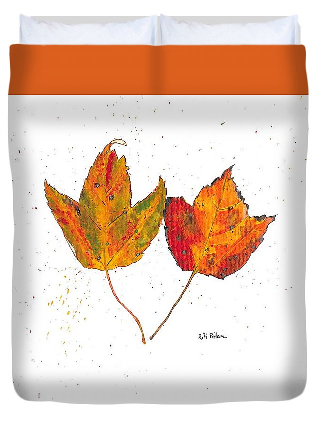 Leaf Duvet Cover featuring the painting Fall Maple Leaves by Riti Pritam