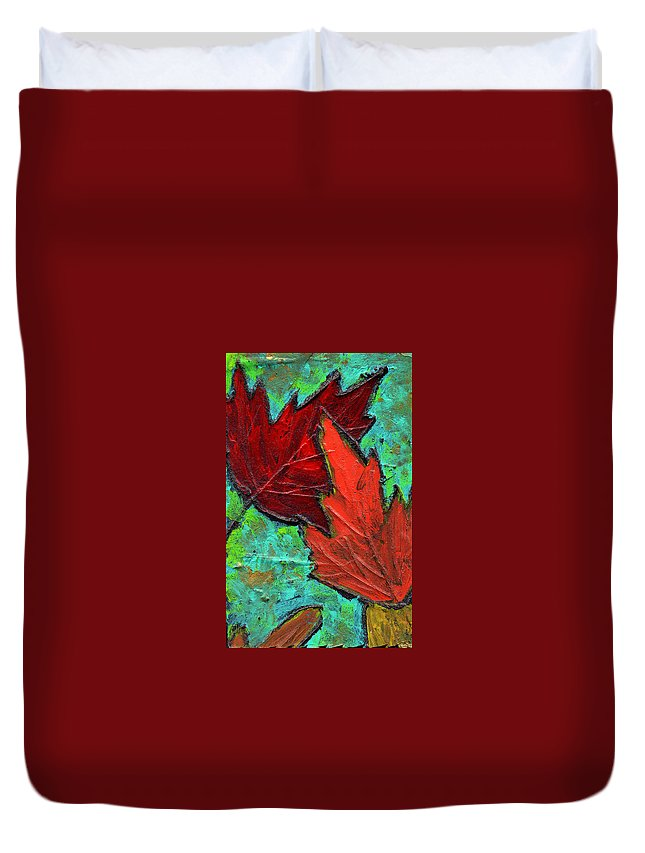 Maple Duvet Cover featuring the painting Maple Leaves by Wayne Potrafka