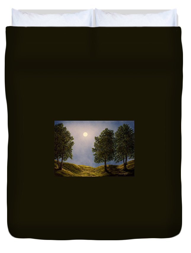 Mountains Duvet Cover featuring the painting Maples In Moonlight by Frank Wilson